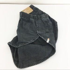 One Teaspoon Runners Distressed Black Jean Shorts